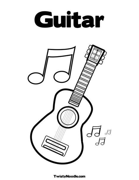 Guitar Coloring Page From Twistynoodle Com Music Coloring
