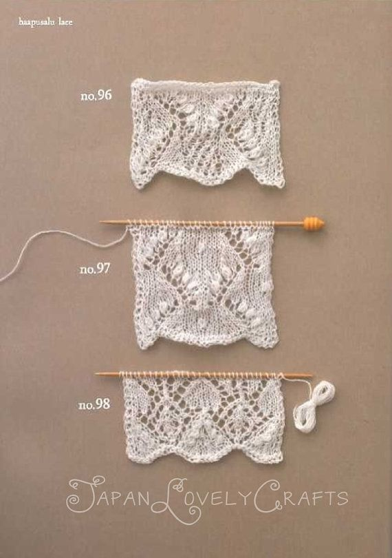 Knitted Lace Edging Patterns : Knitting Lace 104, Kotomi Hayashi - Japanese Knit Pattern Book, Edging, Haapu...
