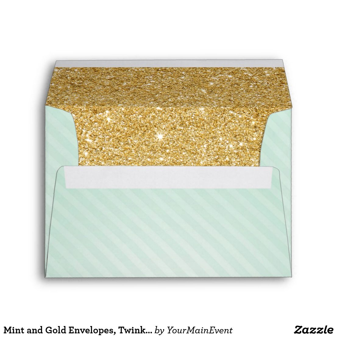Mint and Gold Envelopes, Twinkle Little Star Envelope Twinkle ...