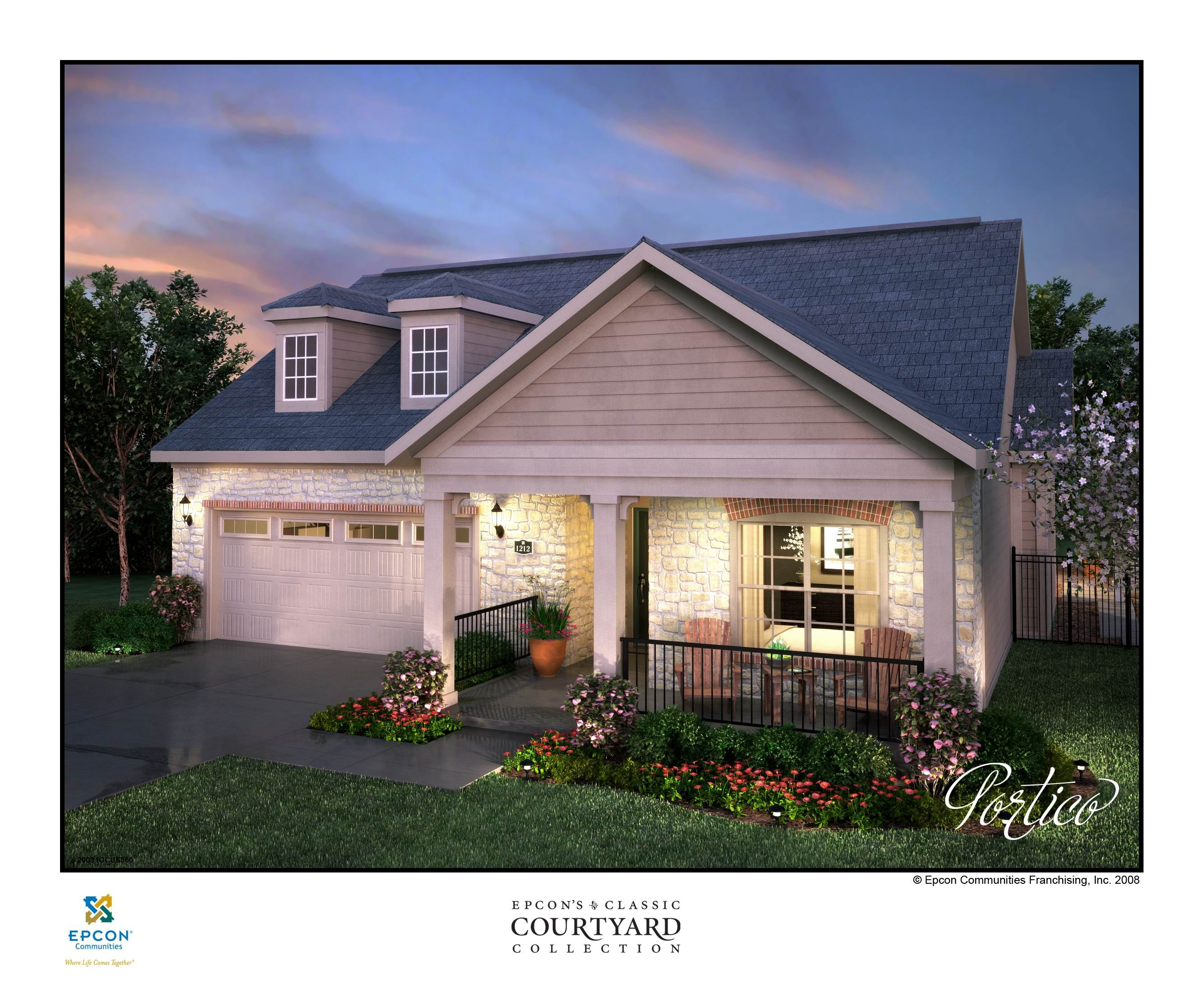 Exterior rendering of new portico model home at the villas at ridgefield farm