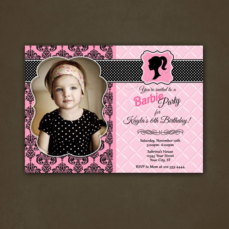 Girls Barbie Birthday Invitation
