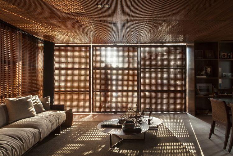 Sichtschutz Innen Holzgitter Fenster Wohnzimmer Couch Dunkel Licht