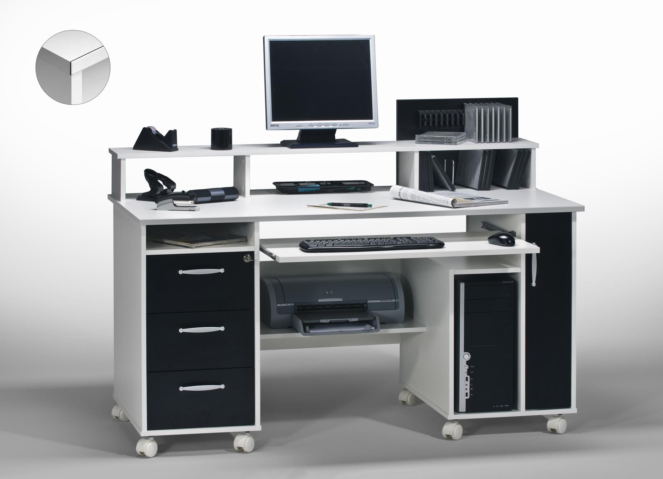 Bureau informatique contemporain blanc noir andria http for Petit meuble informatique ordinateur