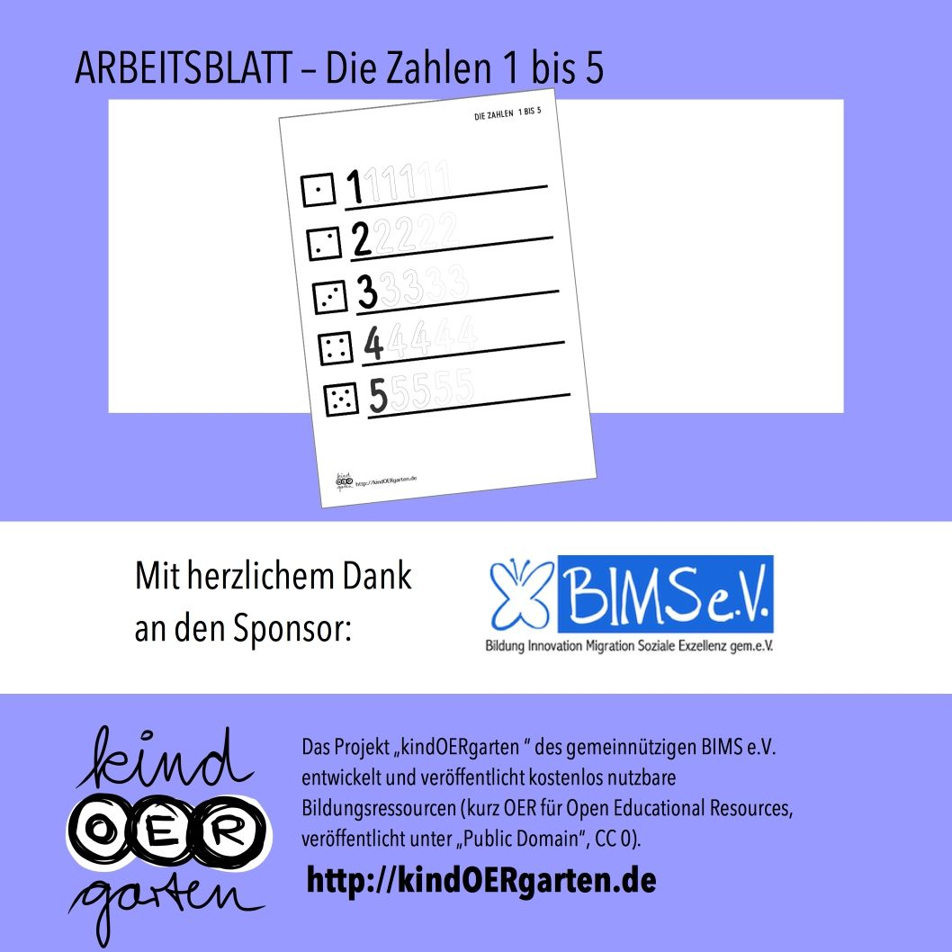 Arbeitsblatt für Kinder: Die Zahlen 1, 2, 3, 4 und 5 | kindOERgarten ...