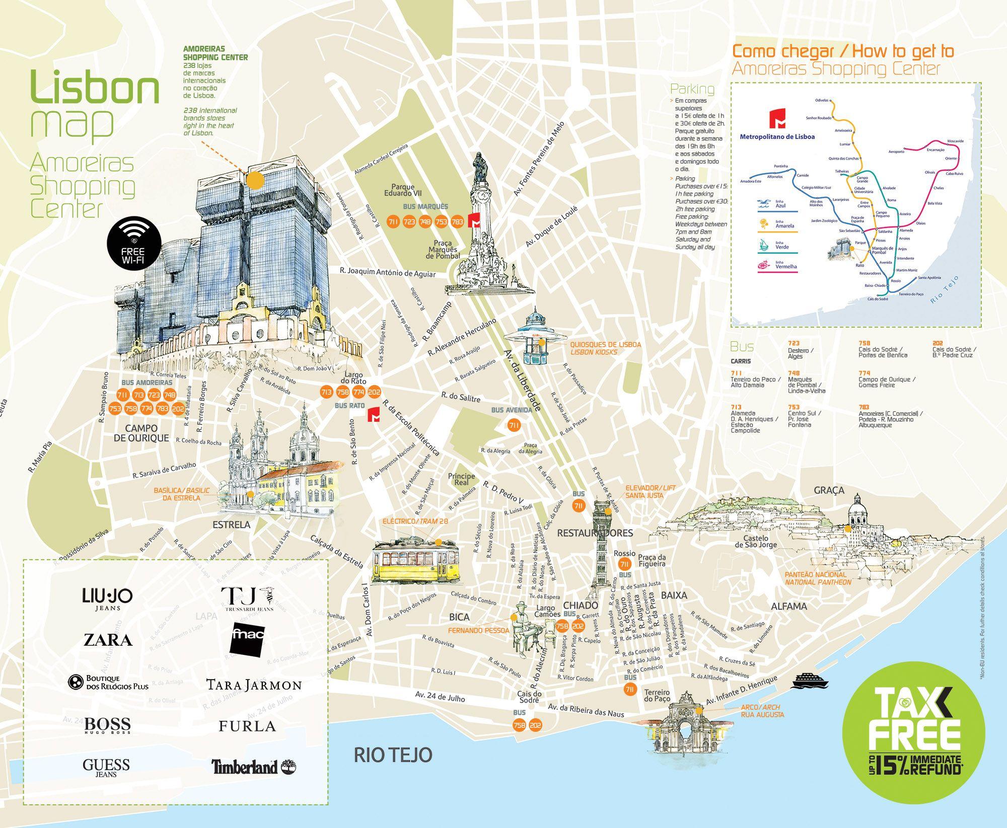 Lisbon Map Art City Print Portugal Digital Wall Art 8x10