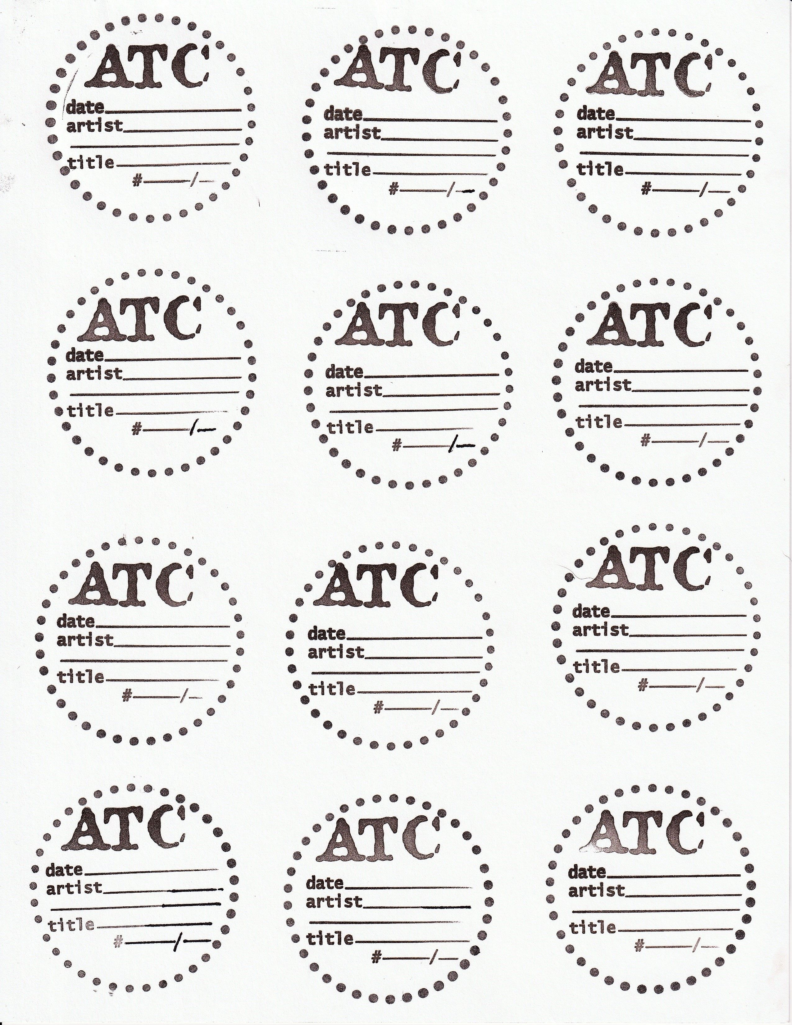 Artist Trading Coin Backs Template Hand Made With Rubber Stamps Use And Decorate As You Please Art Trading Cards Artist Trading Cards Atc Cards