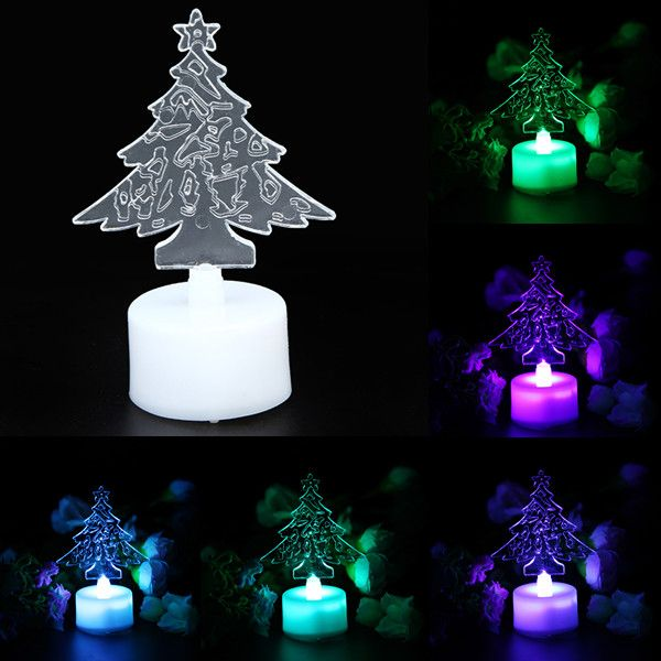 LED Color Changing Acrylic Christmas Tree Candle Night Light For