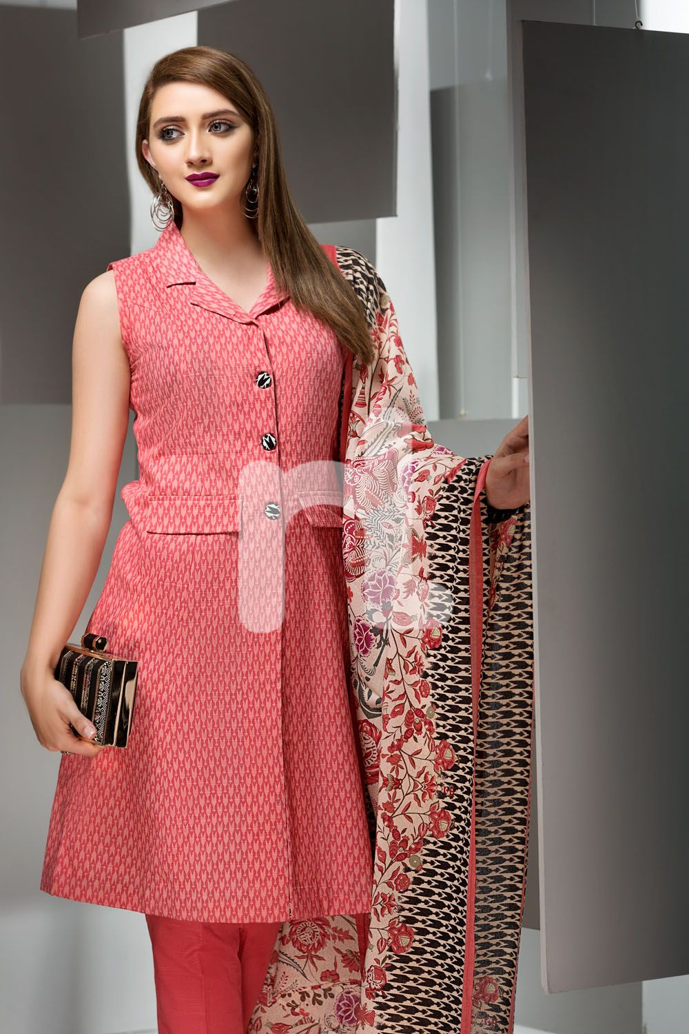 8f1907e9ea Unstitched 3 Piece Khaddsar Pakistani Dress On Sale To Buy Online In Pink  By Nishat Linen Winter Collection 2017 At A Discount Price.