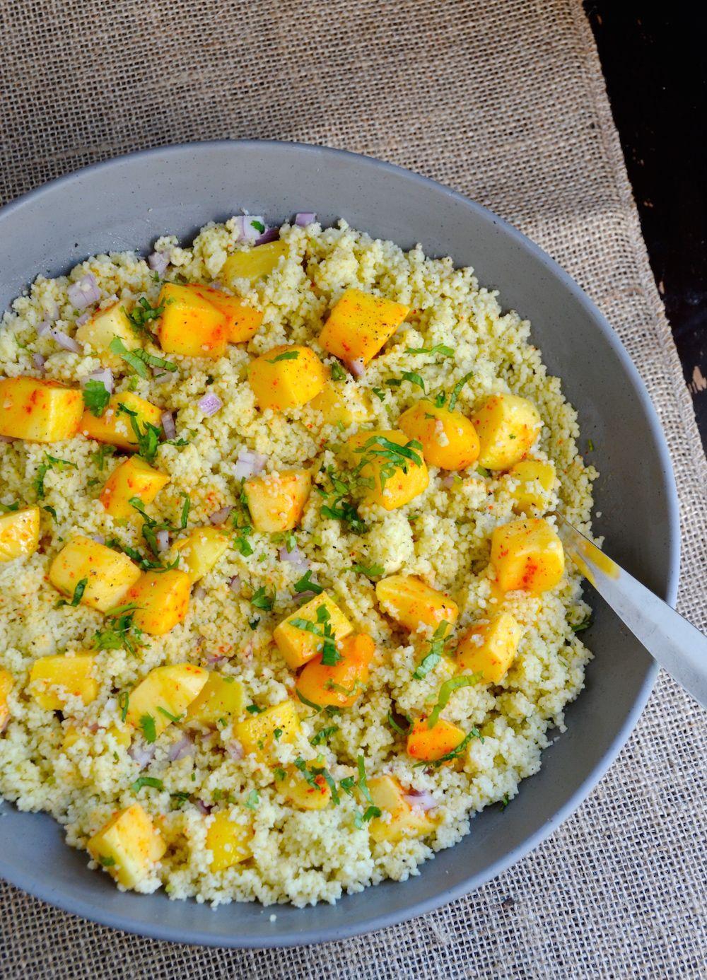 Coconut Mango Couscous Salad (+ Ideas for a Tropical Fall Party Menu!)