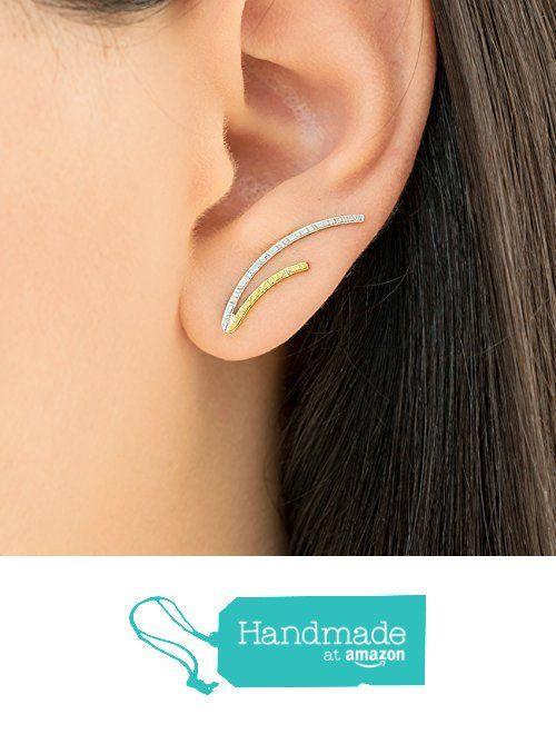 Pair of curved bar ear crawlers, pair of sterling silver ear cuffs, gold bar earring pins, minimalist earcuffs, double tone line ear climbers handmade by Emmanuela from Emmanuela - Art in silver http://www.amazon.com/dp/B015WLJ99Y/ref=hnd_sw_r_pi_dp_S424wb0EEFYRC #handmadeatamazon