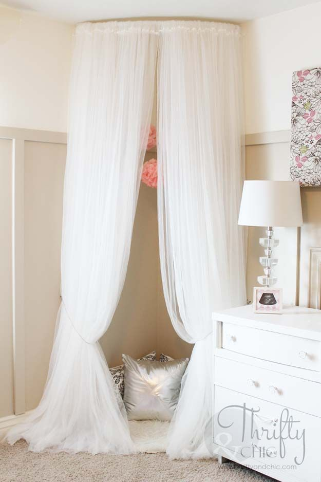 All White DIY Room Decor - Whimsical Canopy Tent Reading Nook