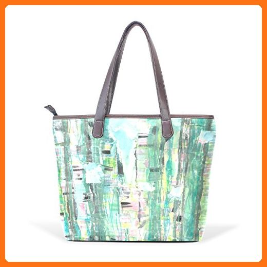 BYouLockX Bamboo Graffiti Pattern Leather Handbags Satchel ShoulderBag for  Women - Top handle bags (  d41965c691
