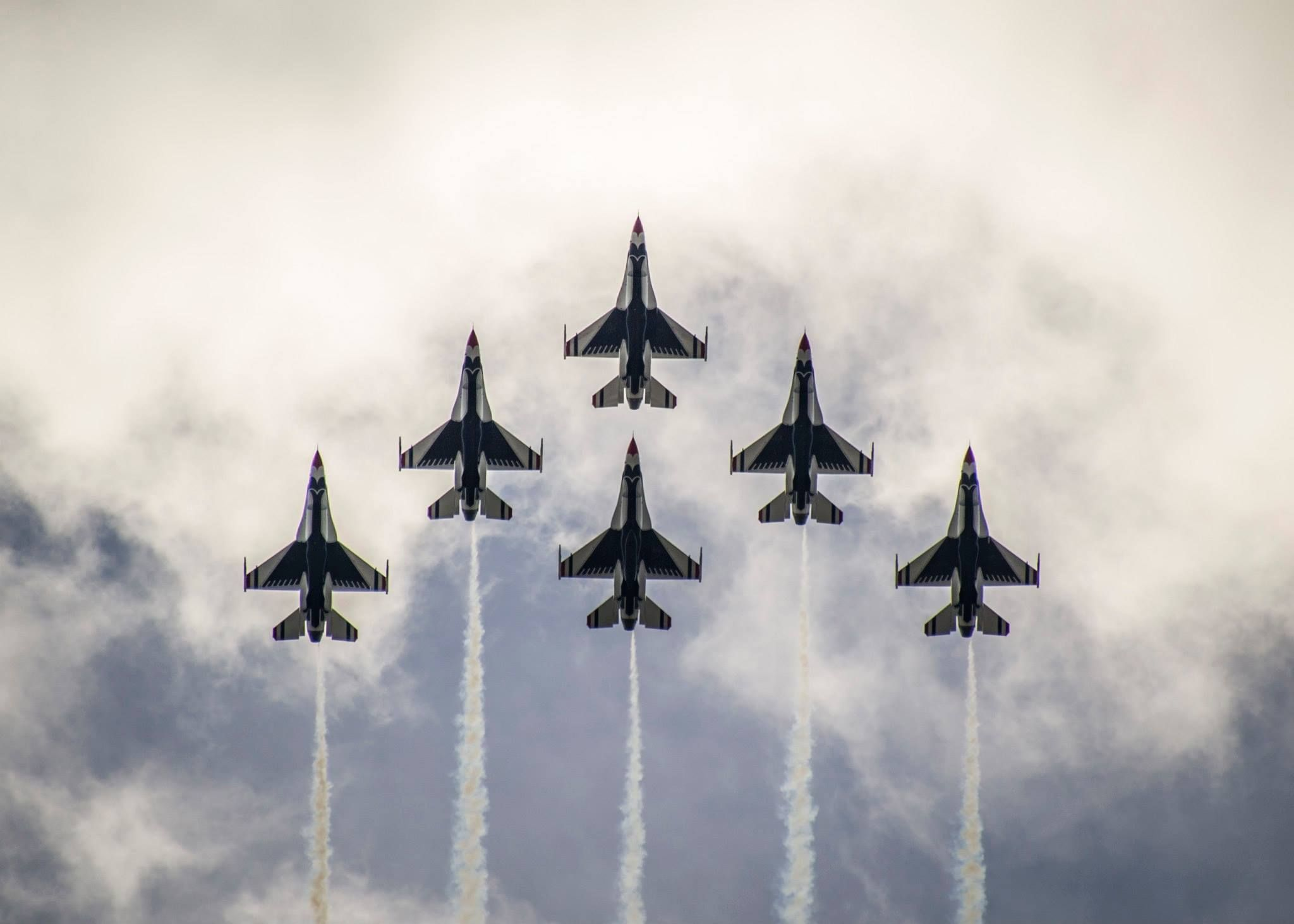 The Thunderbirds Delta Formation flies over Daytona