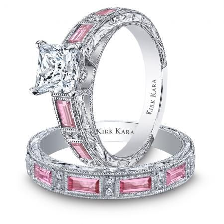 Princess cut diamond and pink sapphires