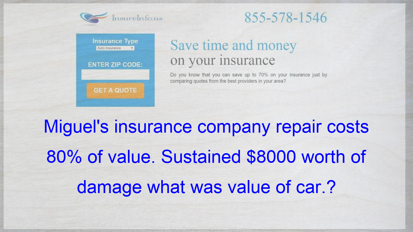 Miguel S Insurance Company Repair Costs 80 Of Value Sustained