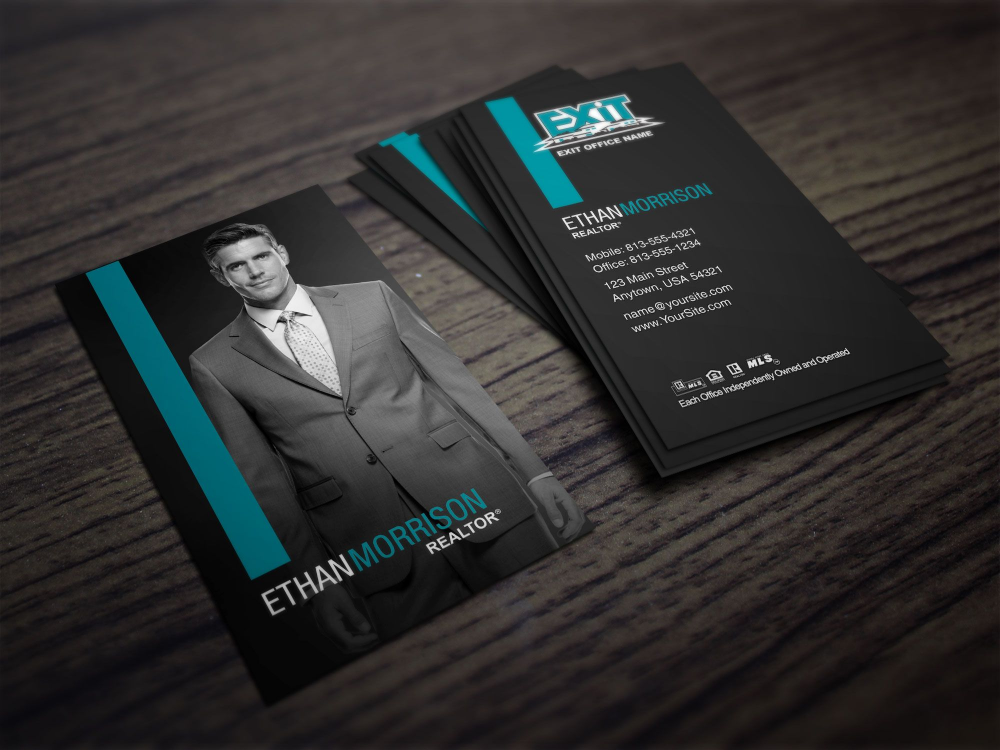 Clean Dark Exit Realty Business Card Design For Realtors Within Real Estate Ag In 2020 Real Estate Agent Business Cards Realtor Business Cards Stunning Business Cards