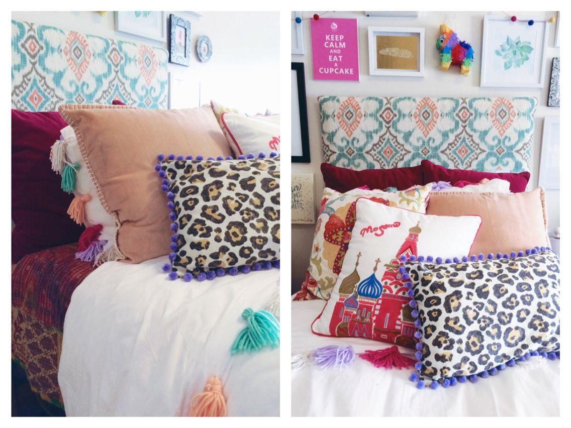 My boho-chic Anthropologie inspired dorm room at SCAD - DIY ikat headboard,  DIY tassel fringe duvet, DIY suzani and leopard throw pillows, kantha quilt