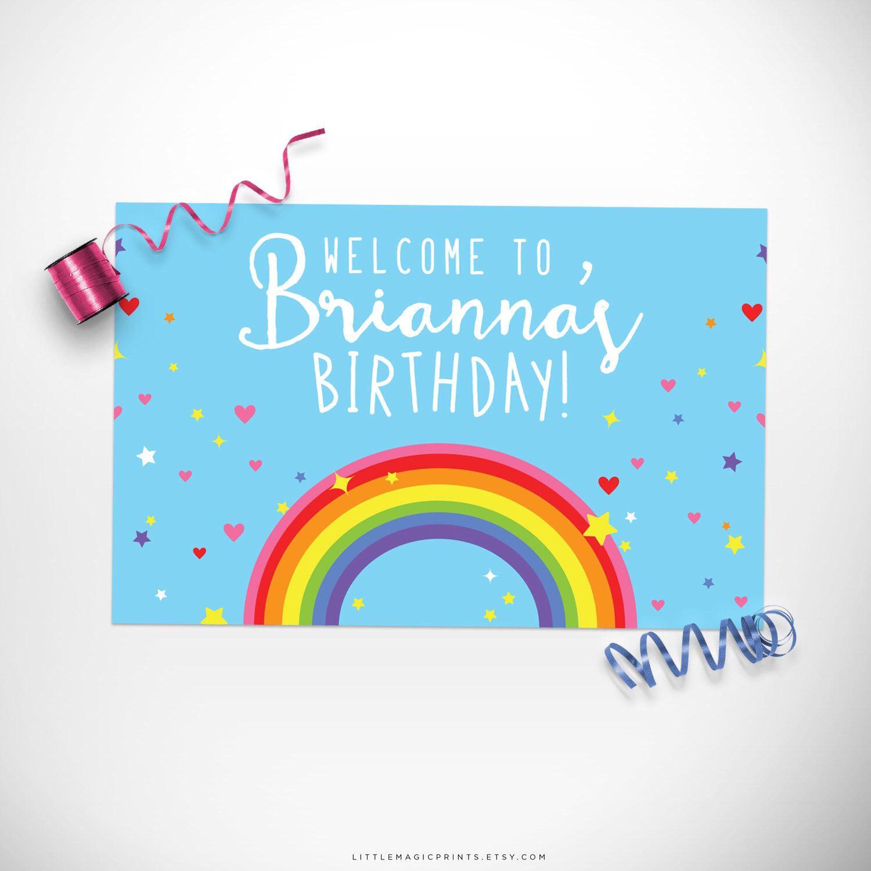 Rainbow Birthday Party Sign Printable / Rainbow Birthday Party Welcome Sign Printable / Rainbow Party Decorations / Rainbow Party Decor by littlemagicprints on Etsy https://www.etsy.com/listing/468764415/rainbow-birthday-party-sign-printable