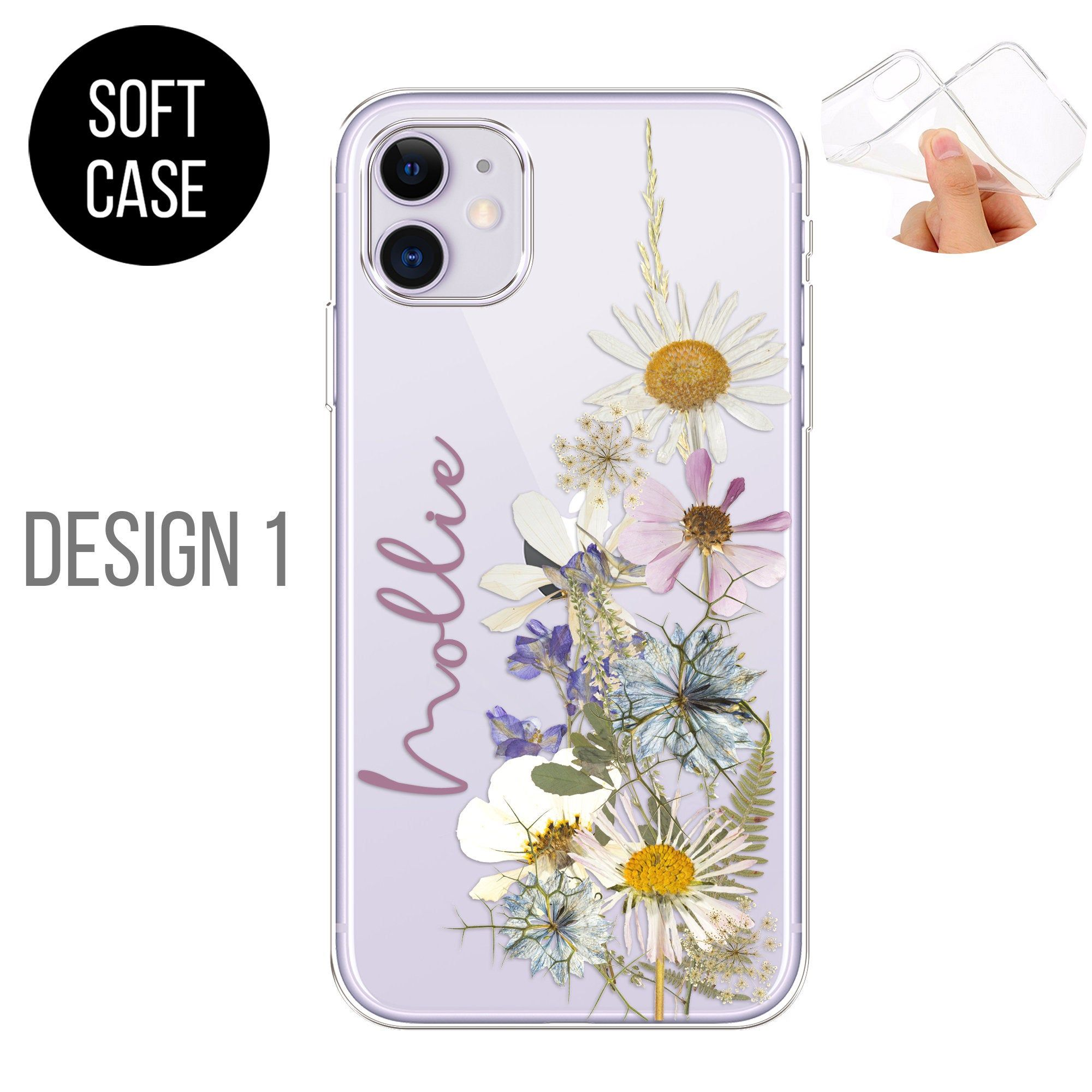 PERSONALISED phone case initials name silicone flowres cover for apple iphone SE 2020 6 6s Plus 7 8 X Xs max Xr 11 Pro Max iPhone 12 Pro Max
