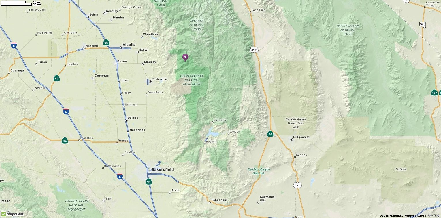 Balch Park Campground In Springville CA  Directions - Mapquest map of usa