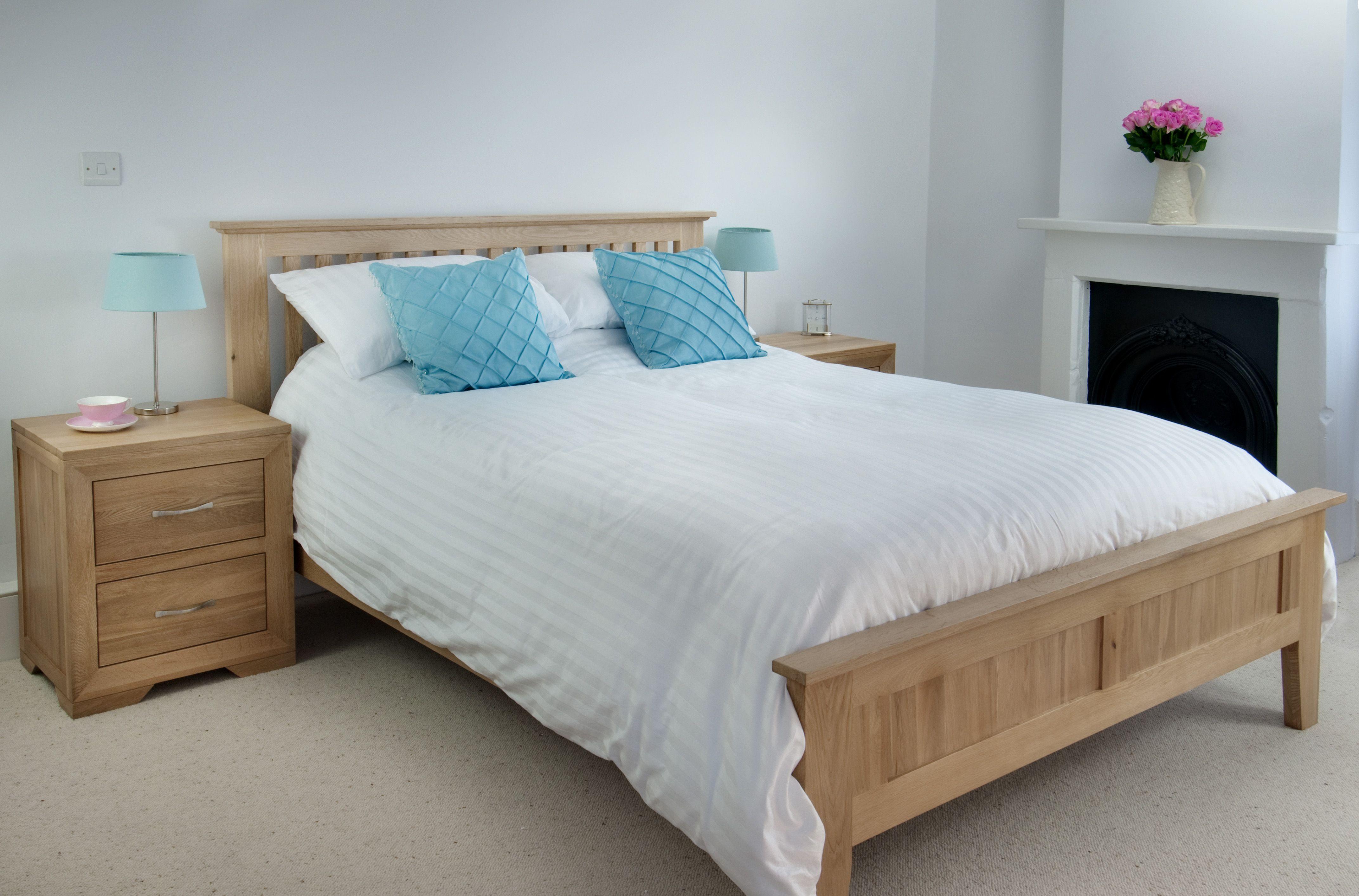 Bevel Solid Oak 4ft 6 Double Bed Style Oak Furniture Bedroom