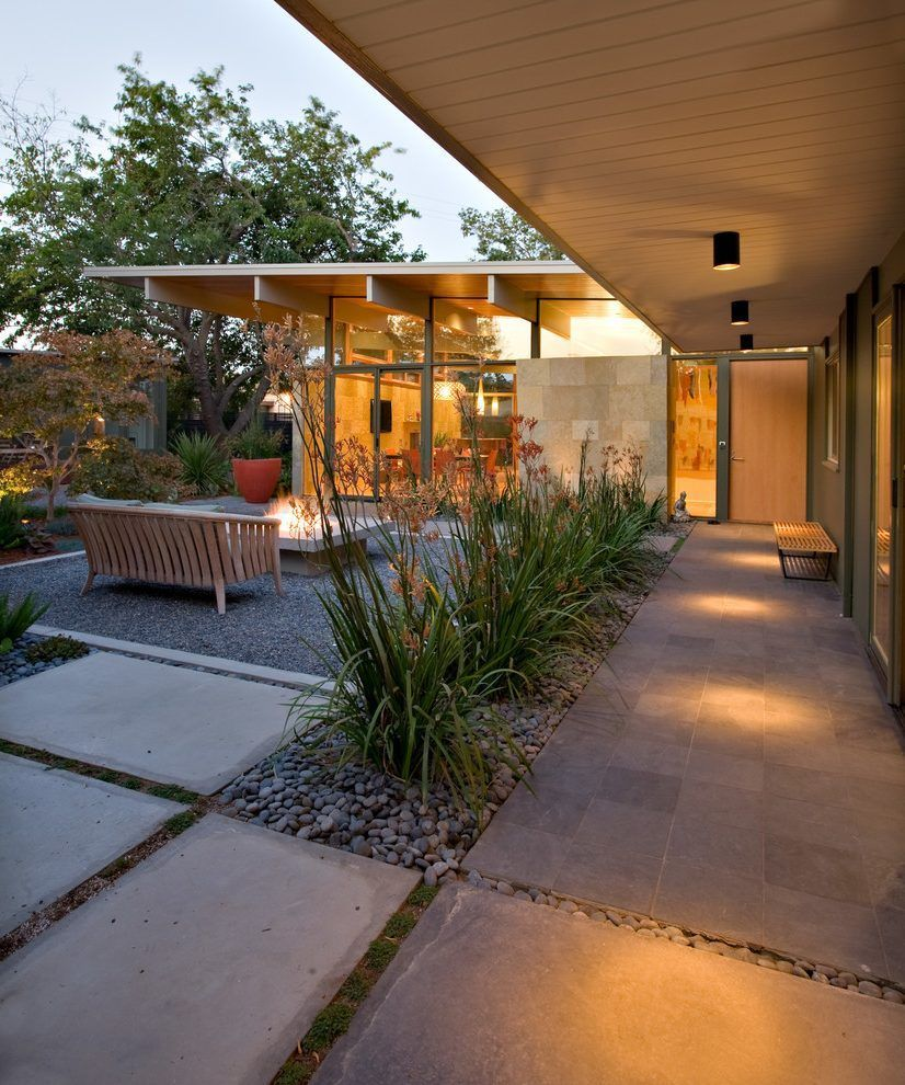 50 Concrete Front Porch Ideas Entrance Mid Century Modern Backyard Modern Landscaping Modern Landscape Design