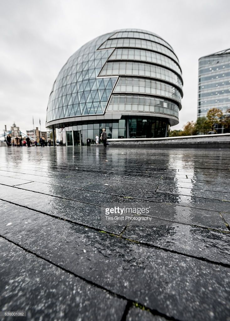 Low angle view of City Hall at The More London business district, London, UK.