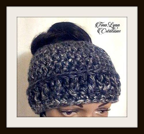 bc8668a7c7051 Chunky Messy Bun Hat We consider this to be an easy crochet pattern