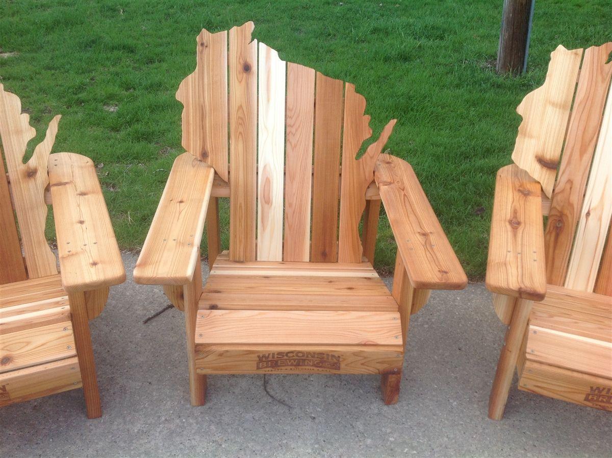 Custom Made Personalized Cedar Adirondack Wisconsin Chairs