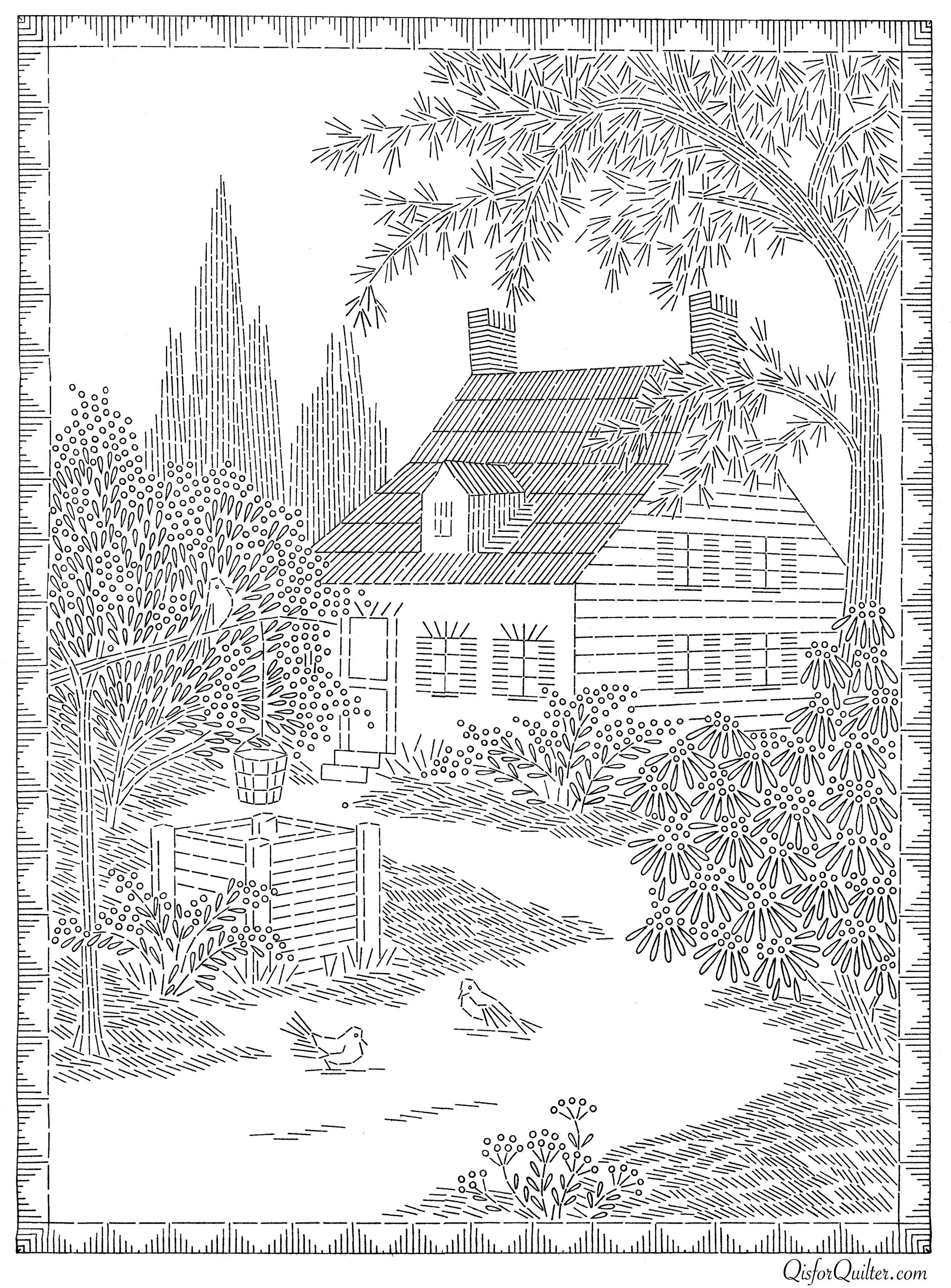 American-Weekly-Cottage-Transfer.jpg (2304×3119) | Embroidery ...