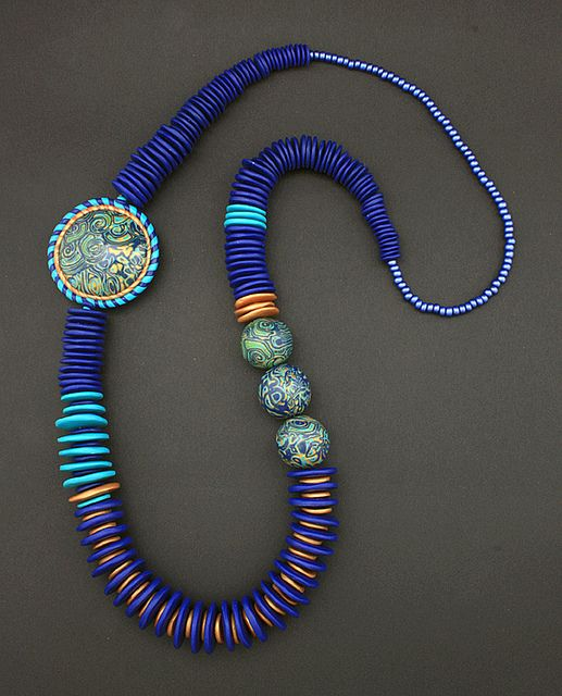 Cobalt and Turquoise Necklace by DorothySiemens, via Flickr