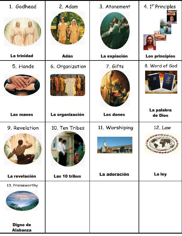 Holamormon2: TARJETAS CON LOS ARTICULOS DE FE (JUEGOS)   Primary ...