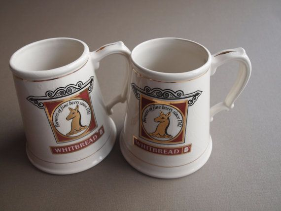 2 Whitbread beer tankards English pub beer by EleanorsVintage