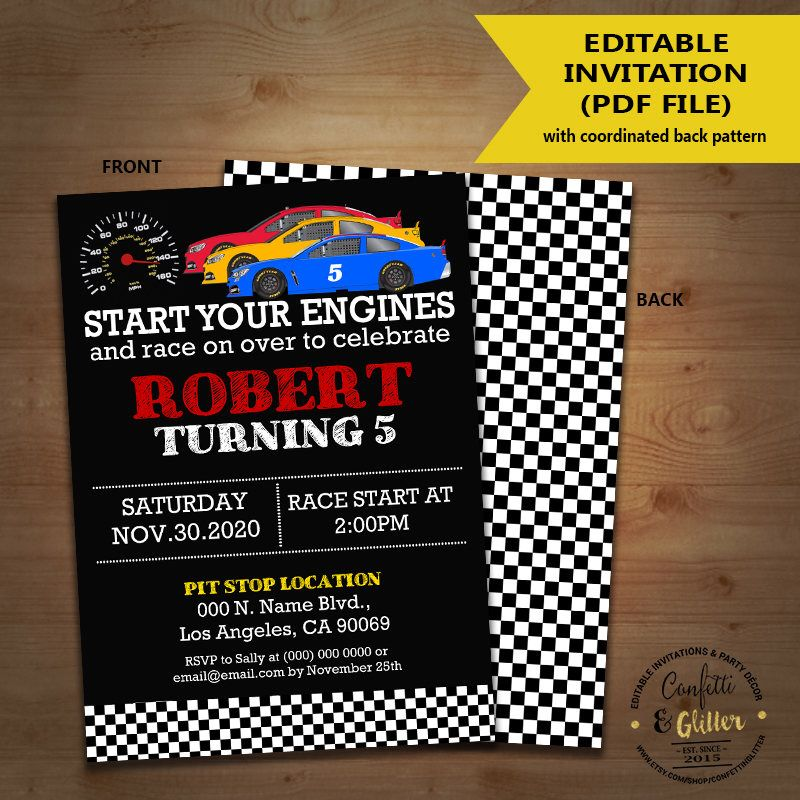 Race car birthday invitation racing cars auto racing party race car birthday invitation racing cars auto racing party chalkboard invite instant download you edit text solutioingenieria Choice Image