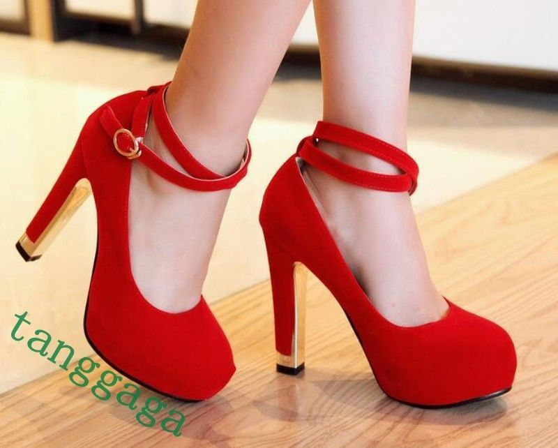 Hot Sale Summer Buckle Round Toe Wedding High Heels Faux Suede Party Shoes Size