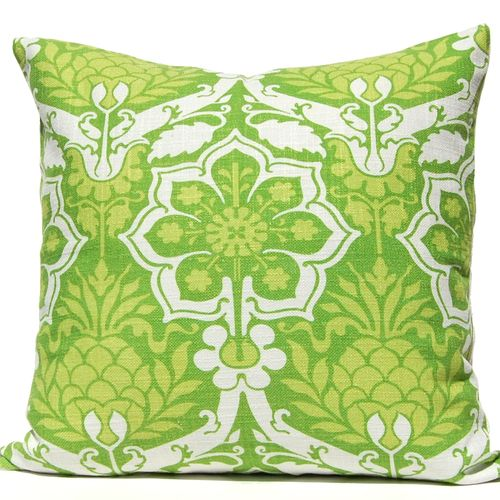 Island style without being obvious, this soft, tropical Pineapple Damask pillow in varied bright shades of green will fit right into your coastal decor!