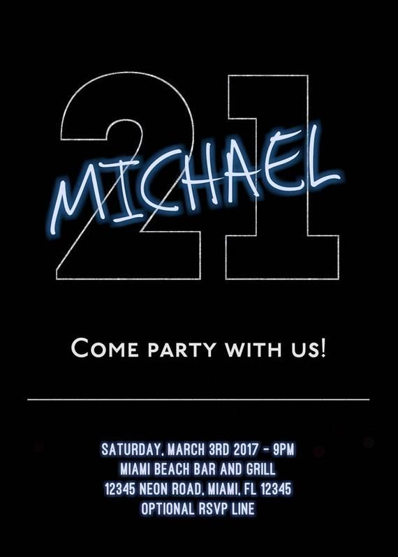 21st Birthday Invitations Guy For Him Party Invites Neon
