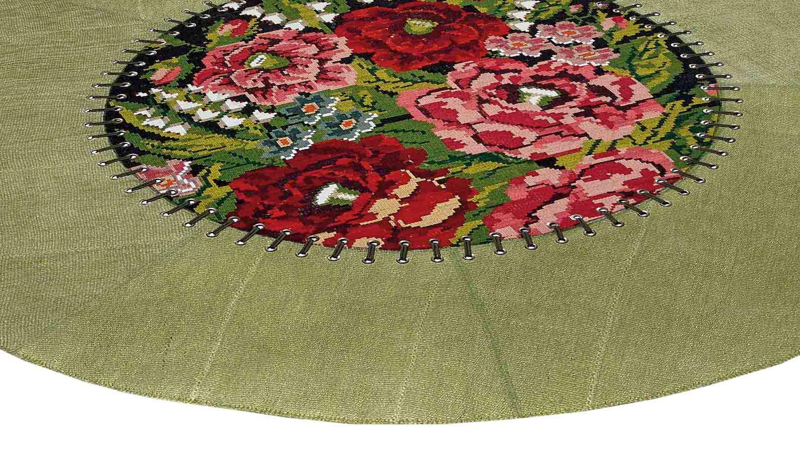 Dandy Strass Fiori green round carpet Tappeti, Fiori e