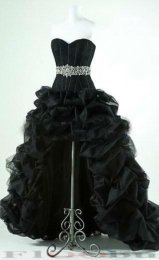 On Short Front Long Back Wedding Dress in Black