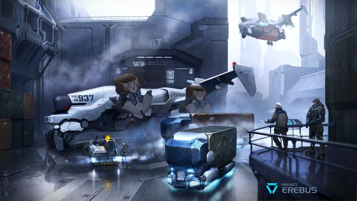 http://goo.gl/5MQnvG on DeviantArtby vombavr: Nobody cares about security.#concept #cyberpunk #hangar #scifi #aircraft #digitalpaint