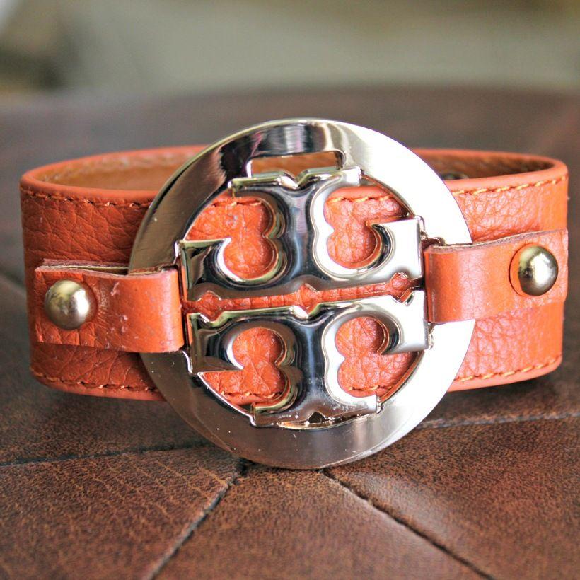 Designer-Inspired Medallion Leather Cuff - Orange $16