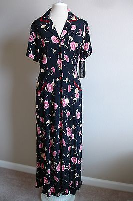 Carol-Anderson-Vintage-Floral-Tea-Dress-Retro-1940s-Inspired-NEW-with-TAG