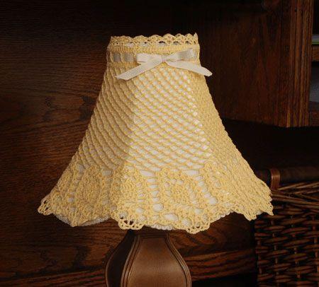 Crochet Pattern Lovely Lampshade : Slanted Pineapple Lampshade Cover crochet lampshades ...
