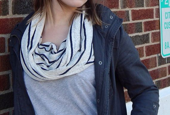 Blue & White Striped Shimmer Infinity Scarf, $15