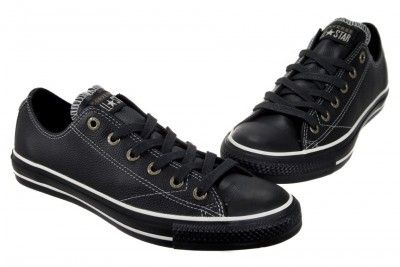 cfa1d1583950 Converse ALL Star Chuck Taylor European OX 1J858 Black Leather Shoes ...