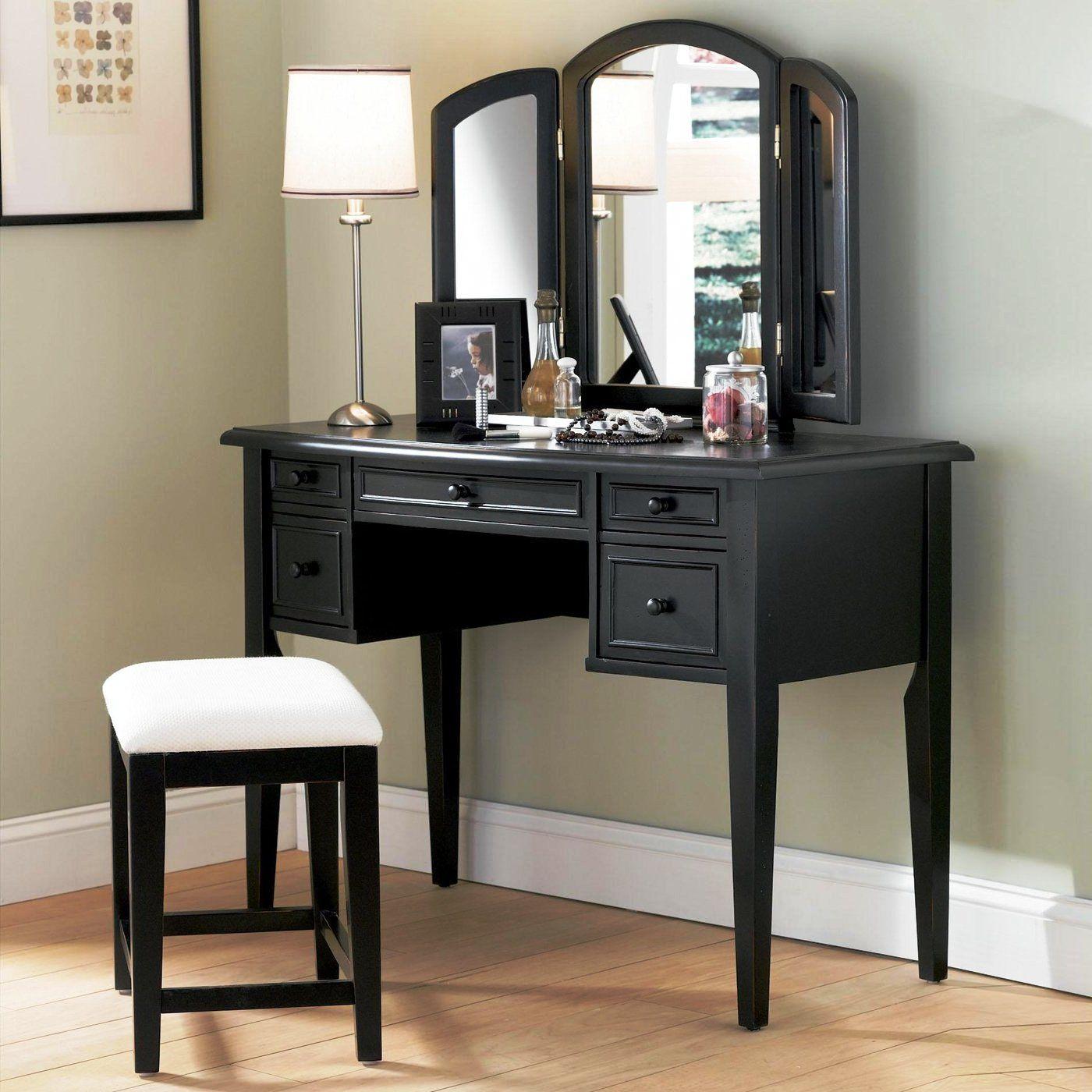 Mirror For Bedroom Bedroom Bathroom Furniture Black Solid Wooden Vanity Make Up Table
