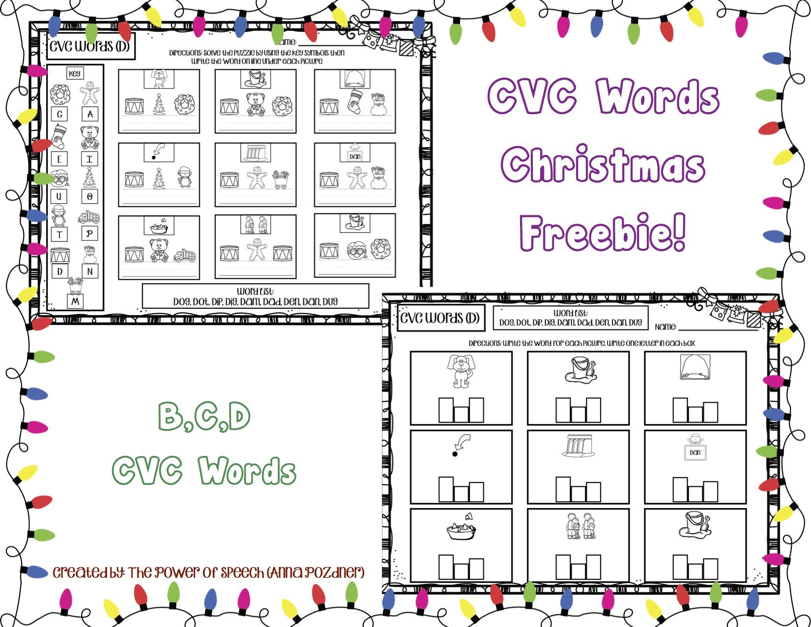 Cvc Words Christmas Freebie