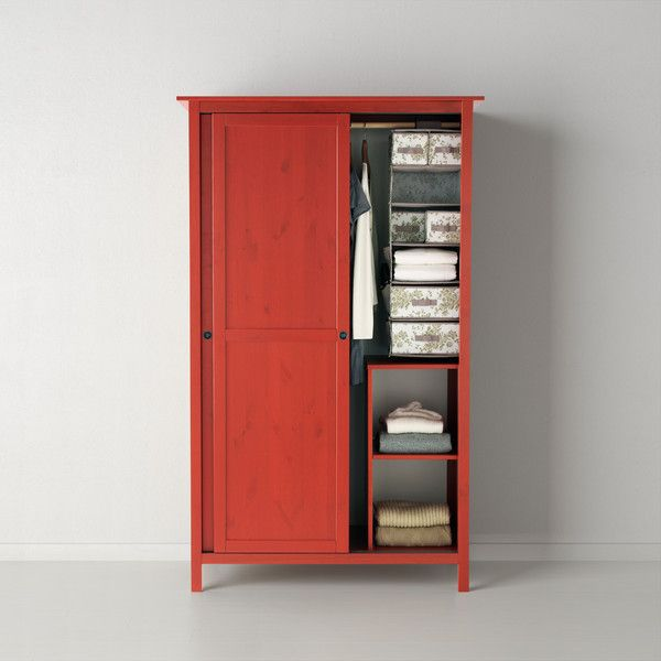IKEA HEMNES Wardrobe With 2 Sliding Doors, Red (465 CAD) ❤ Liked On