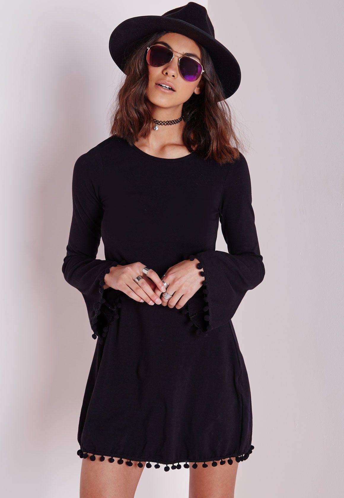 Missguided - Pom Pom Trim Bell Sleeve Swing Dress Black
