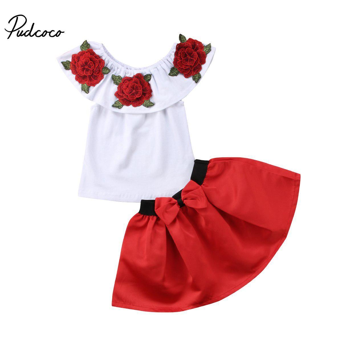 c94cb311c00bbd Kids Toddler Girl Summer Clothing Set Flower Off Shoulder Tops T-Shirt Bow  Tutu Skirt